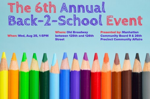 Colored pencils with event information in text.