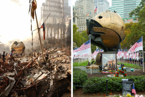 Two images of a large metal sculpture, one in the wreckage of the 9/11 attacks and one as a memorial afterward.