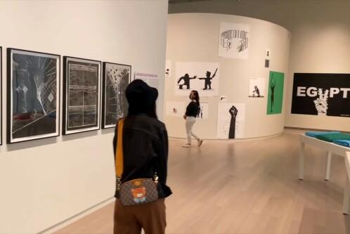 People walking in the Wallach Art Gallery.